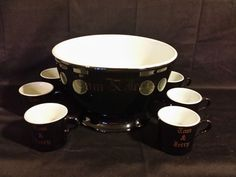 Hall Pottery ~ 50's Black & Gold Tom & Jerry Punch Bowl Set w/Lot of 8 Mugs/Cups #Hall