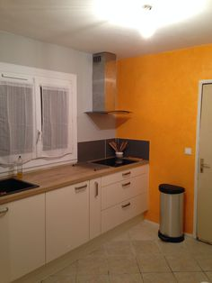 effet sable mur effet cuisine orange grise sable orange - Cuisine Gris Sable
