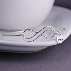 Infinity Bangle Bracelet Personalized Infinity in Sterling Silver by georgiedesigns