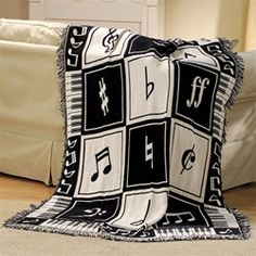 Keynote Black & White Cotton Throw at The Music Stand