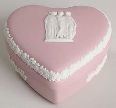 Wedgwood Cream Color on Pink Jasperware Small Heart Shape Box & Lid