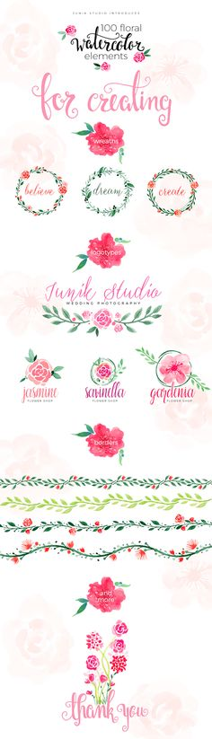100 free floral watercolor elements perfect for creating wreaths, borders, wedding invitations, logotypes, blog headers, and more.
