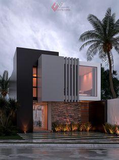 Modern Small House Design, Modern Villa Design, Modern Exterior House Designs, Bungalow House Design, Dream House Exterior, Exterior Design, Modern Bungalow, House Outside Design, House Front Design