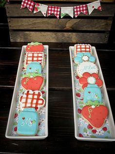 Adorable Strawberry and Mason Jar cookies at a Berry Bash via Kara's Party Ideas
