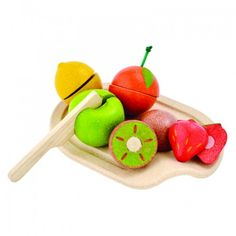 This Assorted Fruit Set includes a cutting board, knife and five sliceable fruits - orange, lemon, kiwi, strawberry and an apple.