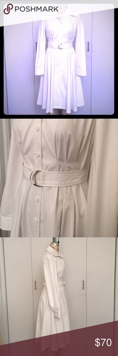 NWOT Anne Klein Crisp, White, Fit and Flare Gorgeous, long sleeved fit and flare shirt dress.  Has a Carolina Herrera feel. Beautiful full skirt. Belted at waist. New without tags and perfectly white. Pleats at waist. Large collar. Front and back raglan seams. Made from a lovely, stretch cotton blend (not at all see-through). Please don't hesitate if you have any questions. Anne Klein Dresses Midi