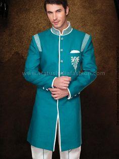 Light sea green sherwani, Sherwani Indowestern, Designer Groom Wear, Stylish Indowestern, Men's Indian Wear www.statusindiafashion.com