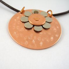 Spring Flower Copper and Nickel Riveted Necklace on Leather