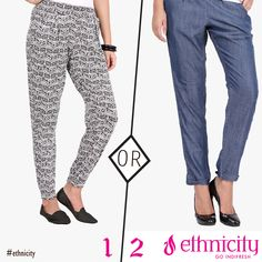 Which of these two pants would you try on this week, the simple plain one or the one with printed ethnic motif? #ethnicity #oants #design #style #fashion #trend