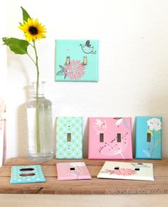 Turn Old Switch plates to Designer Ones #Design, #Relooked, #Reused, #SwitchPlates, #Upcycled