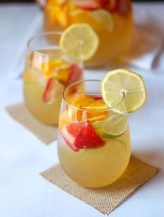 Limoncello Sangria | This quick and simple limoncello sangria is the perfect summer cocktail. @turniptheoven