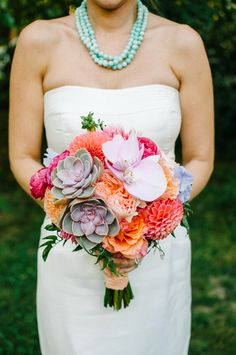 my favorite for the bride bouquet so far---succulents, peach dahlias, peach garden roses, coral ranunculus, coral peonies Amanda Flowers, Wedding Events, Wedding Ideas, Wedding Stuff, Coral Peonies, Modern Flower Arrangements, Succulent Bouquet, Bride Bouquets, Bridal Flowers