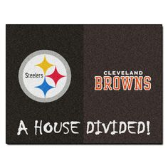 Pittsburgh Steelers-Cleveland Browns NFL House Divided Rugs 33.75x42.5