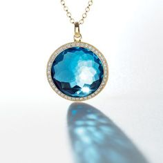 IPPOLITA Lollipop® pendant with diamonds in london blue topaz Gemstone Jewelry, Jewelry Necklaces, Jewelry Shop, Jewellery, Modern Jewelry, Fine Jewelry, Buy Gemstones, Blue Topaz Necklace, Fashion Earrings