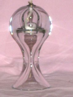 LARGE  Clear Glass   Oil Lamp  -  Handmade in Poland (269)