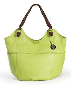 Lime Indio Leather Tote