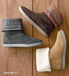 Your go-to fall and winter boot: the Laurel Boot from Eddie Bauer | Made of splash-resistant leather, this boot can be worn with the cuff up or folded over to reveal a printed blanket or faux-fur lining. An ultralight EVA outsole provides excellent traction in cold, wet conditions.