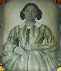 ~ ANTIQUE Photo TINTED AMBROTYPE Green Dress GOLD Jewelry CIVIL WAR Braided HAIR
