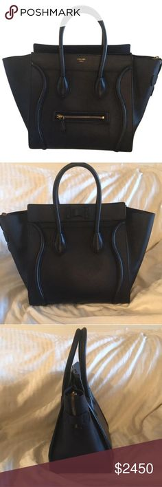 Céline Mini Luggage Tote Navy Smooth Calfskin Barely used Celine Mini Luggage Tote in Smooth Calfskin Leather. The bag is in almost new condition, but it just doesn't fit my lifestyle right now as I'm in need of a daily bag that can hold a laptop. The smooth calfskin is very durable, and it has barely any scuff marks! If you've been dying for this bag at a discount, mine is in incredible condition :) Celine Bags Satchels