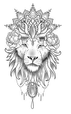 Le lion – Famous Last Words Henna Tattoos, Tattoo Femeninos, Tattoo Dotwork, Lion Head Tattoos, Bild Tattoos, Arm Band Tattoo, Tattoo Drawings, Body Art Tattoos, Flower Tattoos