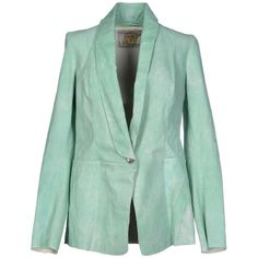 Vintage De Luxe Blazer ($175) ❤ liked on Polyvore featuring outerwear, jackets, blazers, light green, vintage de luxe, leather jacket, real leather jacket, leather blazer and genuine leather jacket