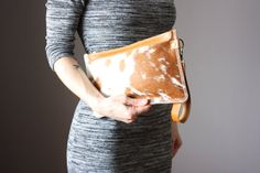 Spotted Cowhide clutch hair on hide clutch by VitalTemptation