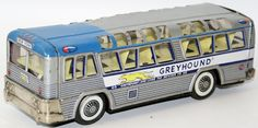 Vintage Tin Lithographed Friction Greyhound Bus by Cragstan (NGS) , Japan