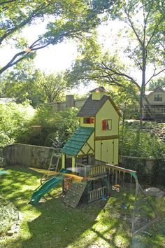 That's our swingset from Menards. I love how this family supersized the playhouse!