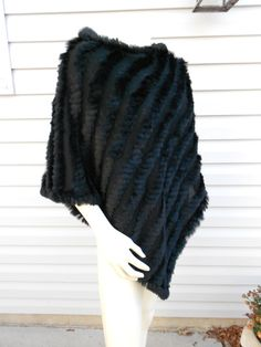 Rabbit Fur Poncho / Black Cape / Shawl Wrap / by Tootiescloset, $49.00  I own a cape just exactly like this!  and I dearly love it!
