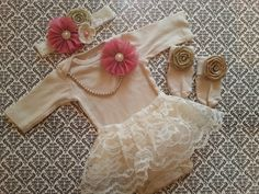 Baby Girl, Newborn Take Home Outfit, Tan Socks, Headband, Mauve Flowers, Pearl Necklace, Moss Rolled Rose, Keepsake, Shabby Chic Photo Shoot by LeopardLaceLove on Etsy https://www.etsy.com/listing/204545947/baby-girl-newborn-take-home-outfit-tan