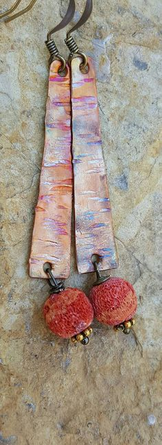 Check out this item in my Etsy shop https://www.etsy.com/listing/279395860/textured-copper-earrings-flame-painted