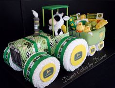 John Deere Inspired Tractor and Wagon Diaper Cake www.facebook.com/DiaperCakesbyDiana