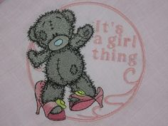 Teddy Bear getting ready for a party machine embroidery design More