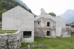 Situated on a rural plot in Switzerland, Ca' dal Mantova brings the land's ancient ruins into the century. The residence is comprised of an. Aluminum Element, Arch House, Cement Walls, Reinforced Concrete, Ancient Ruins, Stone Houses, Architecture, Decoration, Contemporary Design