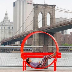 "Whimsical ""Modified Social Bench"" art by Jeppe Hein, at Brooklyn Bridge Park, New York - photo by James Ewing /Public Art Fund, via dezeen Brooklyn Bridge New York, Brooklyn Bridge Park, Urban Furniture, Street Furniture, Furniture Design, Urban Life, Urban Art, Landscape Architecture, Architecture Design"