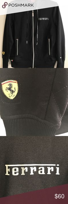 """PUMA FERRARI TRACK JACKET! Authentic Puma Scuderia Ferrari Men's Black Zip Up Track Jacket featuring the """"Scuderia Ferrari Racing Team"""" logo on the right sleeve, the zipper and the laces bear the Ferrari logo  and the left sleeve features the Puma logo, official sponsor of Ferrari!  Very sharp looking and even rarer to find!  Excellent condition! Puma Jackets & Coats Performance Jackets"""