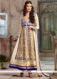 Cream Embroidered Net Ankle Length Anarkali Suit