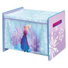 Coffre à jouets Reine des neiges, structure bois et textile, rangement idéal pour la chambre de votre fille. #Reinedesneige #coffre