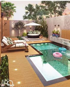 Home Design Decor, House Design, Backyard Pool Landscaping, Backyard Pool Designs, Courtyard Design, Patio Design, Water Wall Fountain, Richmond Homes, Small Pool Design