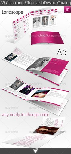 A5 Clean and Effective InDesing Catalog  #GraphicRiver         InDesign format A5 with 3mm bleed 12 pages catalog.  INDD, IDML CS4 and later Easy to editable. Change the all catalog main colour easily and have a new face    	 Font links are included in help file.   	 Photos are not included.     Created: 11December12 GraphicsFilesIncluded: InDesignINDD Layered: Yes MinimumAdobeCSVersion: CS4 PrintDimensions: 8.3x5.8 Tags: a5 #brochure #catalog #changable #clean #effective #landscape…
