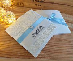 SUMMER beach wedding invitations. Blue invites silver | Etsy Nautical Invitations, Pocketfold Invitations, Beach Wedding Invitations, Birthday Invitations, Invites, Nautical Wedding Theme, Aqua Wedding, Wedding Themes, Party Themes
