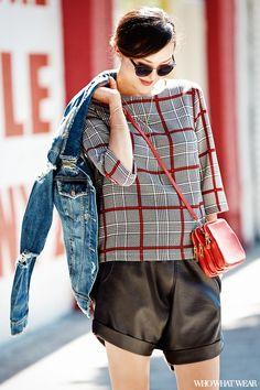 www.imdb.me/jessicasirls  fashion style plaid  Chriselle Lim shows us four ways to wear red this fall via @WhoWhatWear