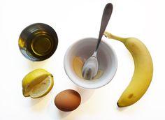 Mak hair soft and more manageable. •1 egg yolk •1/4 cup extra virgin olive oil •1 tsp. honey •1 tsp. coconut oil •1/2 banana (pureed)* •Spritz of lemon
