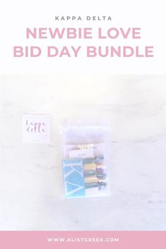 Spoil your new members this recruitment with the Newbie Love bundle! Gift bag includes a sorority decal, hair tie set, and button set. Kappa Delta Gifts | Kappa Delta Bid Day | KD New Member Gifts | KayDee Rush Gift Bags | Kappa Delta Recruitment | Sorority Bid Day | Sorority Recruitment | Bid Day Bags | Sorority New Member Gift Ideas #BidDayGifts #SororityRecruitment