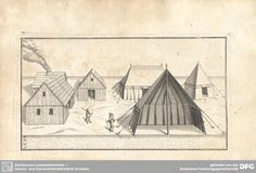 European tent in cross section showing arrangement of supporting ropes and hanging walls. c. 1641. This is too late for the Tudor period but it is a fine example of English Civil War tents.