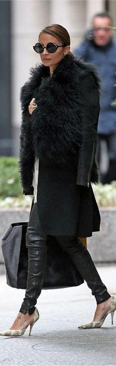 Nicole Richie / black on black / slicked back hair / fur / leather = perfection!
