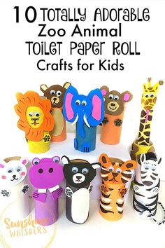 10 Adorable Zoo Animal Toilet Paper Roll Crafts for Kids! These zoo animals crafts would be perfect for kids, especially preschoolers! The animals include lion, tiger, bear, monkey, elephant, giraffe, hippo, zebra, panda, and polar bear. These are such cute animal crafts for kids!