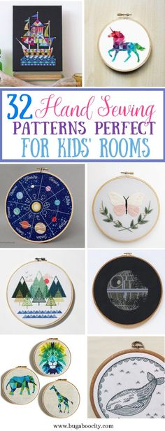 Hand Embroidery Patterns 32 Hand Sewing Patterns Perfect for Kids' Rooms! - From embroidery to cross stitch, these are 32 of the most amazing hand sewing patterns that are perfect for Kids' rooms! Simple Embroidery, Embroidery Patterns Free, Hand Embroidery Stitches, Embroidery For Beginners, Hand Embroidery Designs, Sewing For Beginners, Cross Stitch Embroidery, Sewing Patterns, Pillow Patterns