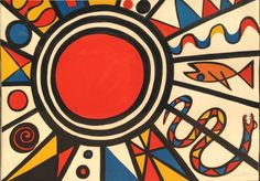 Evolution Revolution - Red Sun Original Alexander Calder Lithograph in colors on paper. From the signed and numbered edition of 125.