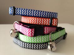 Chevron Cat Collar Blue Orange Pink Green by StylinPupPillows